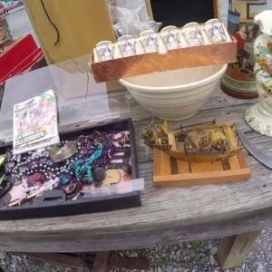 Selling at the flea market! Shopping for a few treasures too!