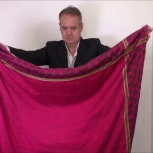5656 Rare Gujarati Silk Trade Shawl with Rare Tax Stamps