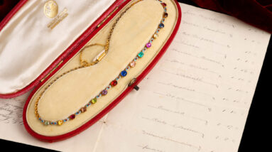 rare victorian necklace containing fifteen distinct gems up for sale