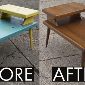Thrift Store Rescue #21 | Refinishing A Painted Mid Century Table | Furniture Restoration