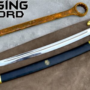 FORGING a Briquet Saber out of Rusted Iron WRENCH - Sword Making