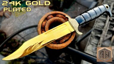 Forging a RUSTED BEARING into a 24K GOLD Combat KNIFE