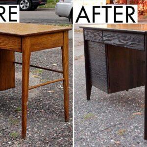 Ebonizing A Desk With Vinegar And Steel Wool | Furniture Restoration | Refinishing